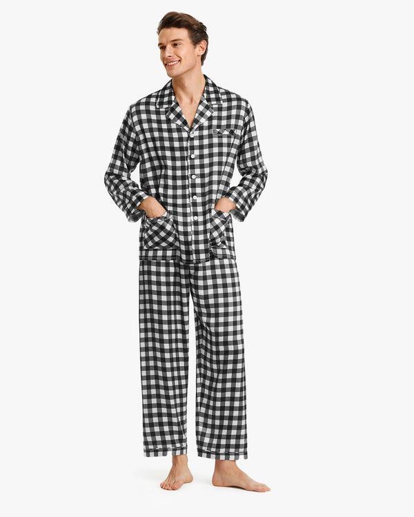 Stylish Checked Silk Pajamas For Men Black-Gray-White-Check XL