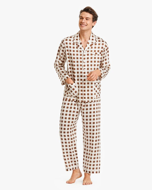 Stylish Checked Silk Pyjamas For Men