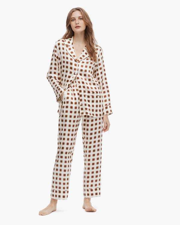Stylish Checked Silk Pajamas For Women