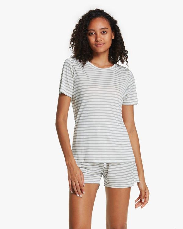 Kurzarm Seidenstrick Pyjama mit Streifen