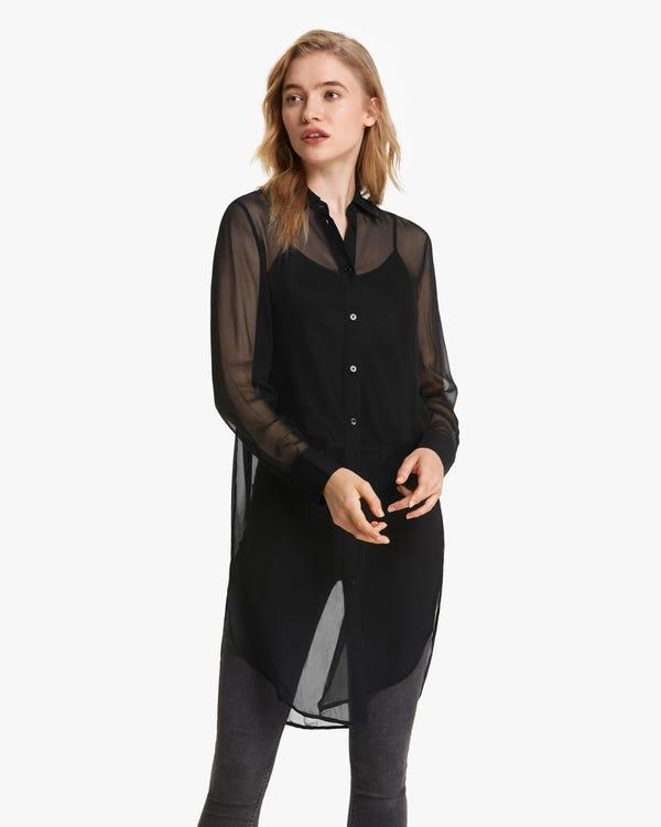 Airy Sheer Long Silk Shirt