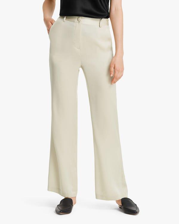 Bell Bottom Silk Women Pants Cream 27B
