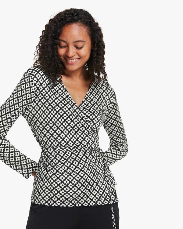 Pattern Print Silk-Knit Blouse