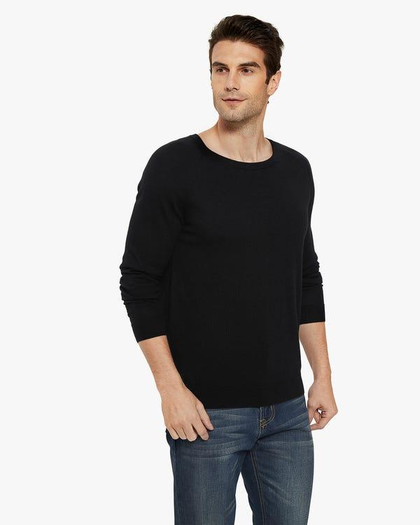 Pullover aus Seide Kaschmir Mischung für Herren Black L