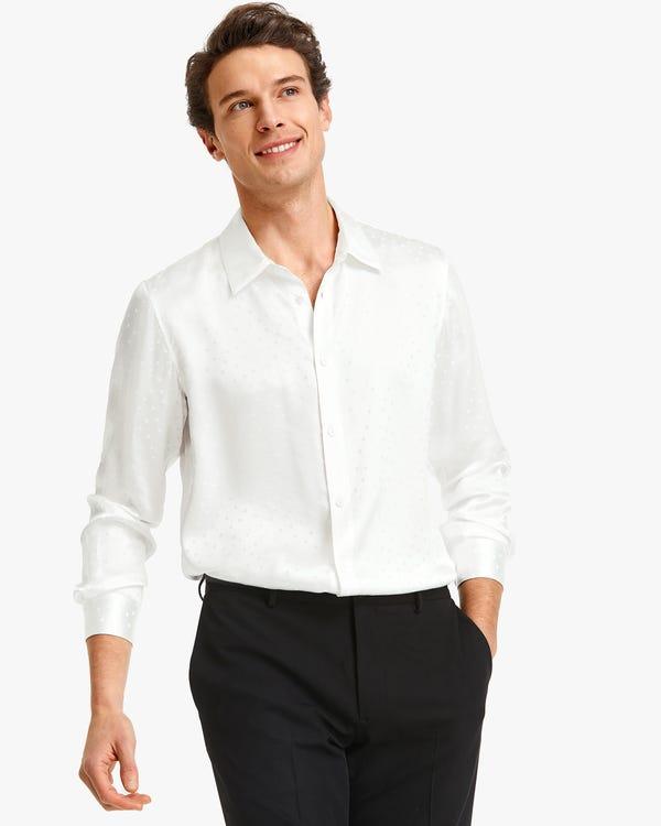 Camisa Seda para Hombres de Lunares White XL