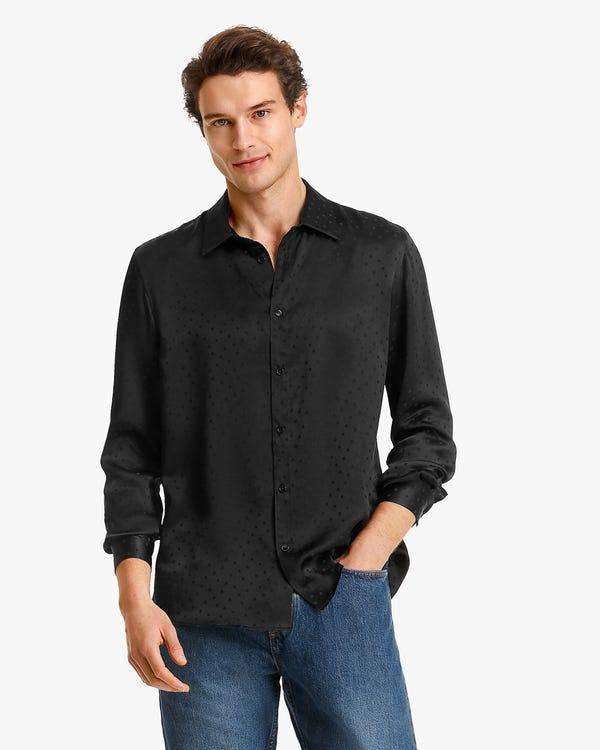 Polka Dot Jacquard Silk Shirt For Men