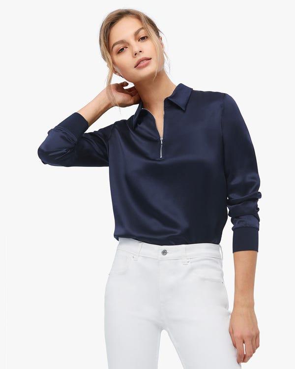 Lapel Zipper Premium Silk Blouse Navy Blue XXL