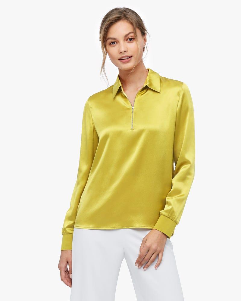 Lapel Zipper Premium Silk Blouse