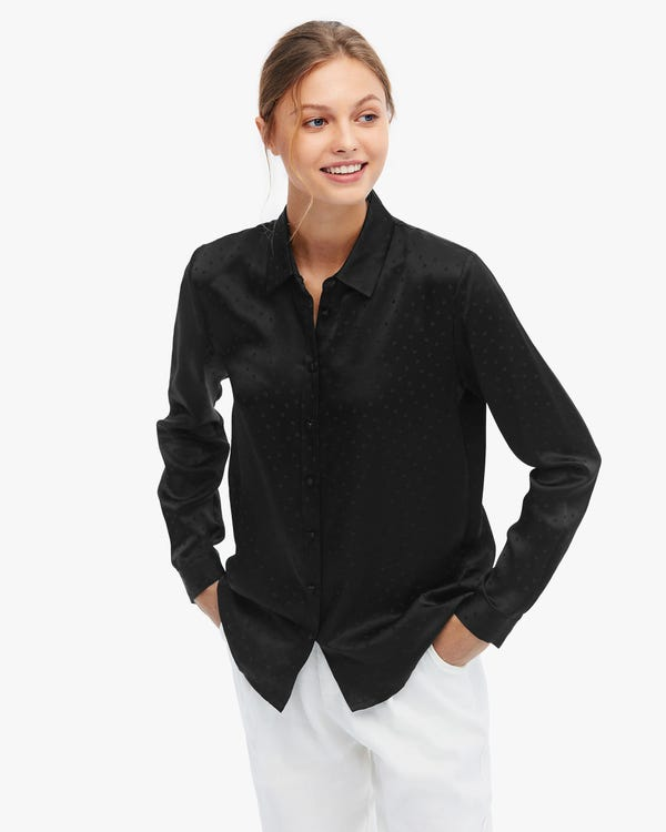 Polka Dot Jacquard Silk Blouse