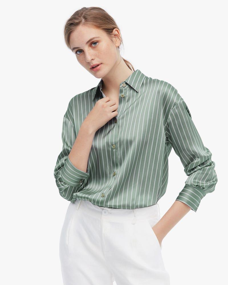 Layered Striped Pure Silk Blouse
