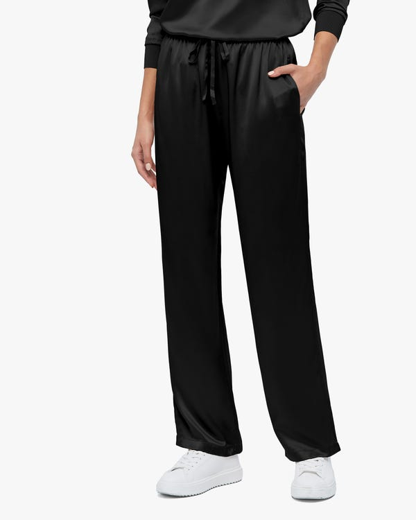Simple Casual Straight Leg Silk Pants Black 31