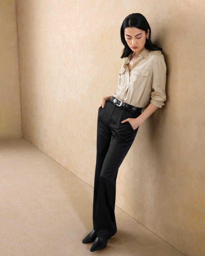 Pantalones de Seda de Pierna Recta Casual Simple