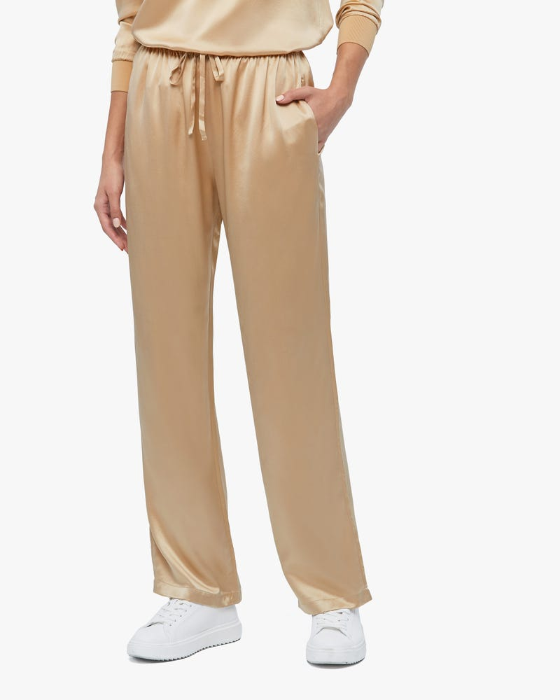 Simple Casual Straight Leg Silk Pants