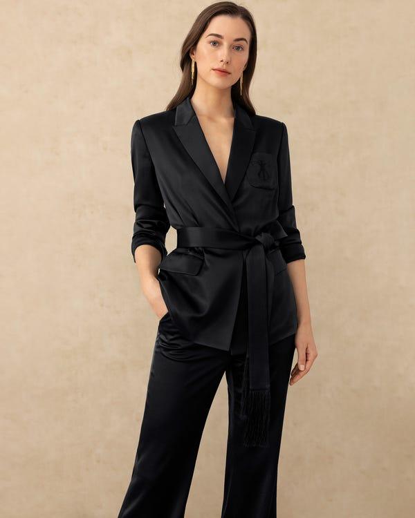 Simple Casual Straight Leg Silk Pants Black 26
