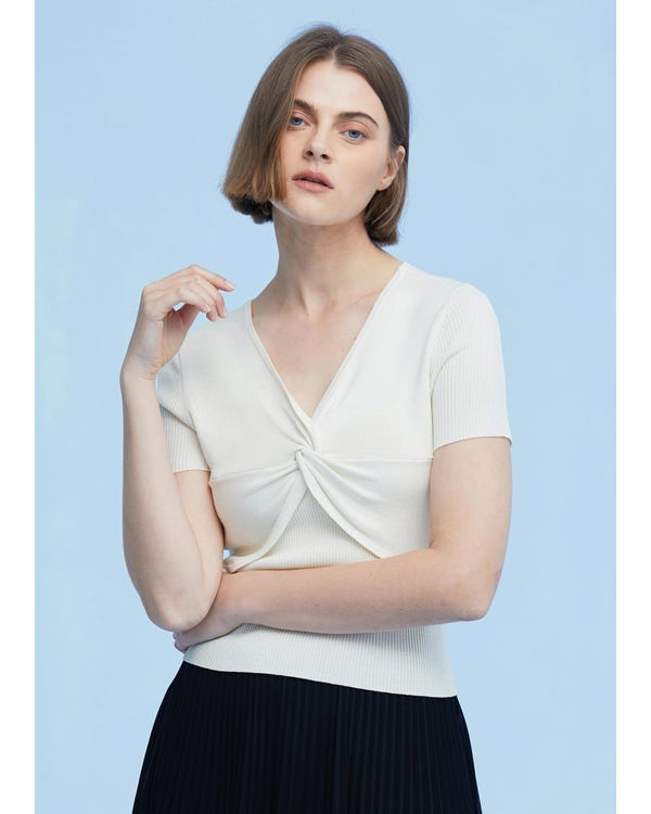 Braderie Short Sleeves Silk Knit Tee with Knot S-hover