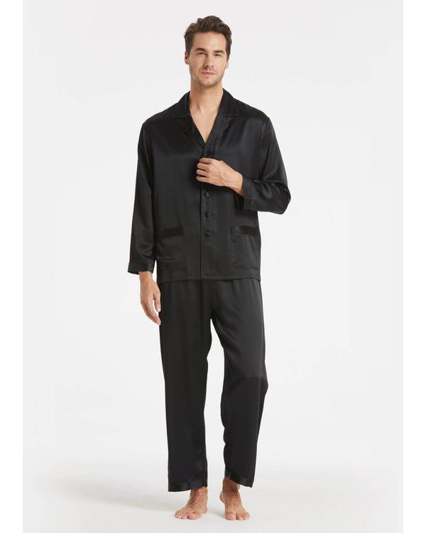Braderie Suite De Pyjama Longue En Soie Classique Pour Homme L