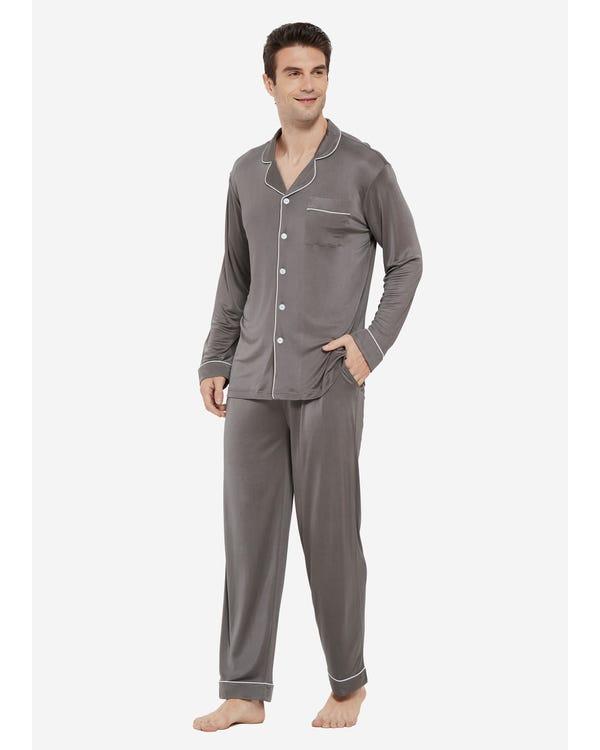 Braderie Pyjama Décontracté en Soie à Col à Revers pour Homme S