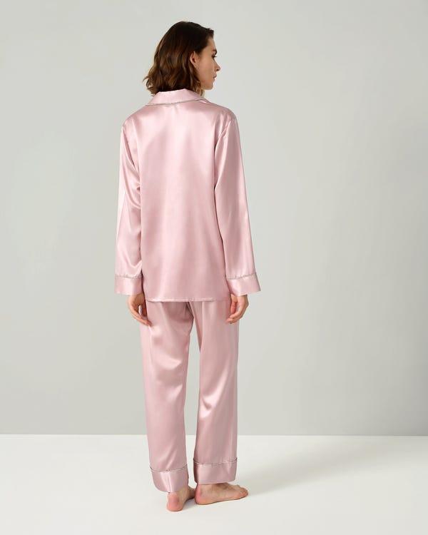 Strass besetzte Seide Damen Pyjama Set-hover