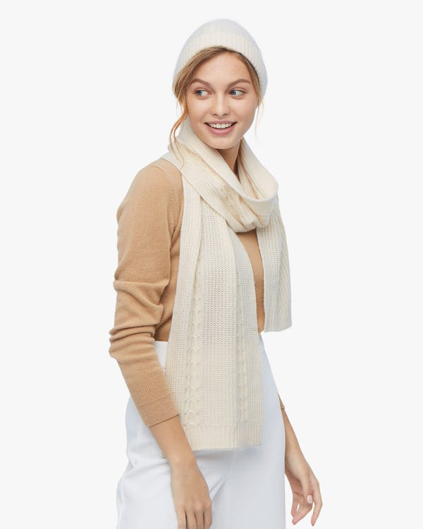 Warm Cashmere Scarf And Hat Set-hover