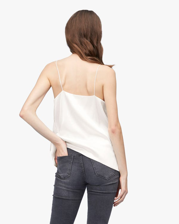 Casual Flat Neck Loose Silk Camisole-hover