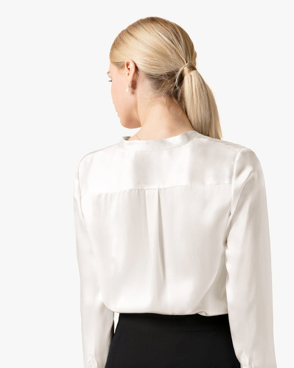 Stand Collar Silk Power Blouse-hover