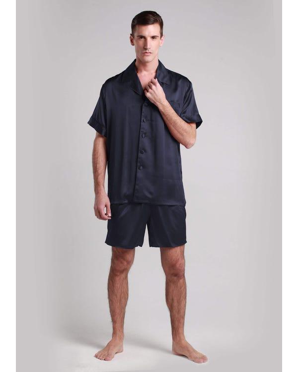 22 Momme Conjunto de Pijamas de Seda Clásico Corto-hover