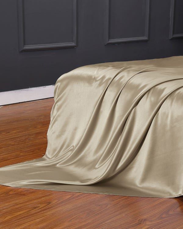 19 Momme Seamless Silk Flat Sheet Taupe King-hover