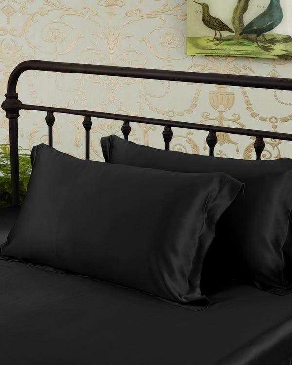 19 Momme Oxford Rand Zijden Kussensloop Zwart 60x70cm-hover