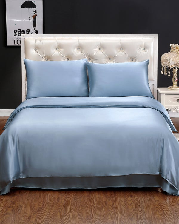 19MM 2Pezzi Set Biancheria Letto Light Blue 140x200cm+50x80cm-hover