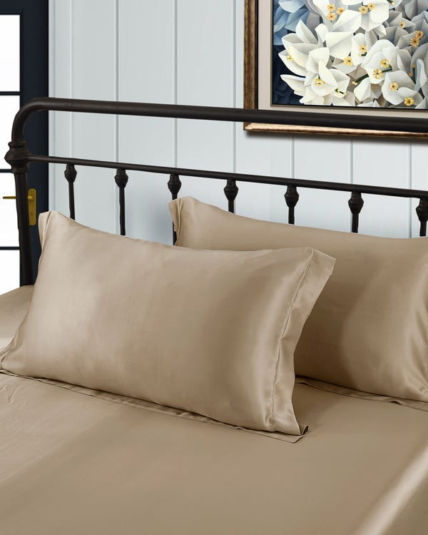 19 Momme Oxford Silk Pillowcase Taupe Standard