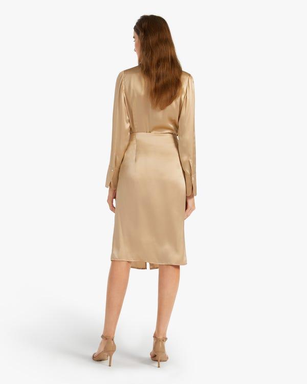 Side Zippered Stretch Silk Drape Skirt-hover