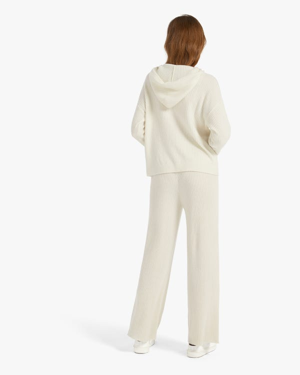 Ribbed Pure Cashmere Hoodie White XL-hover