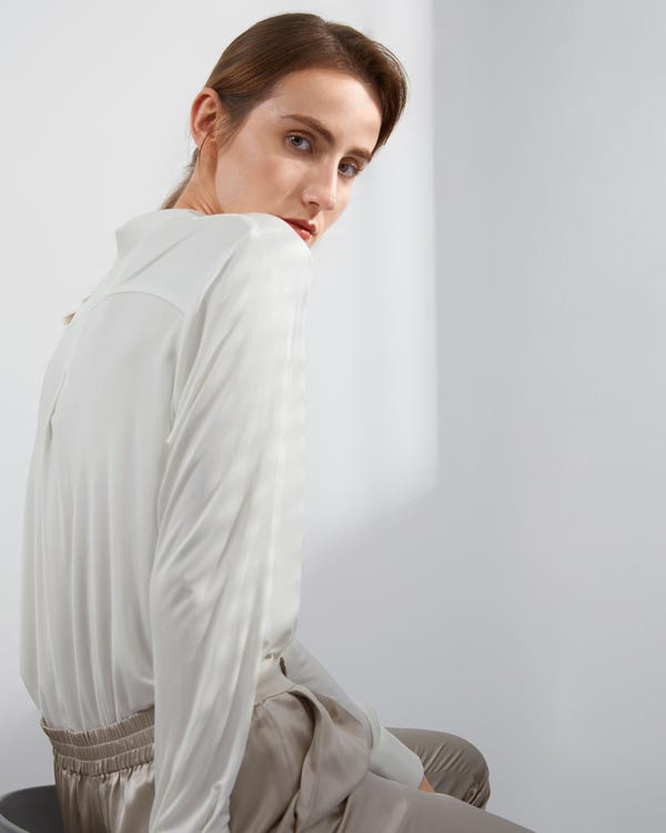 Basic Button-Down Silk Knit Shirt-hover
