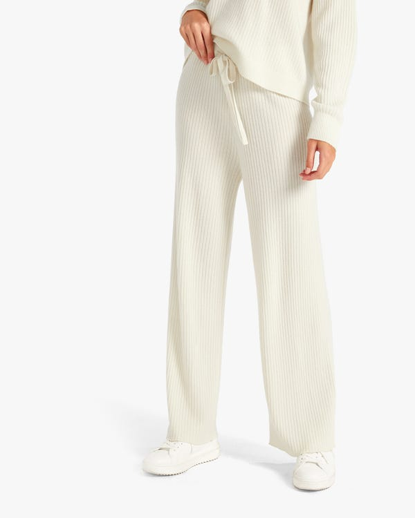 Pantalones Anchos Casuales de Cachemir White S-hover