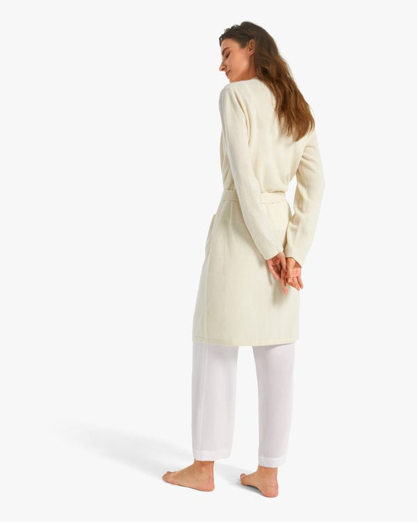 Mittellange Kaschmir Morgenmantel für Damen White M-hover