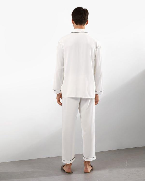 18 Momme Juegos de Pijamas Seda con Cuello de Solapa White XL-hover
