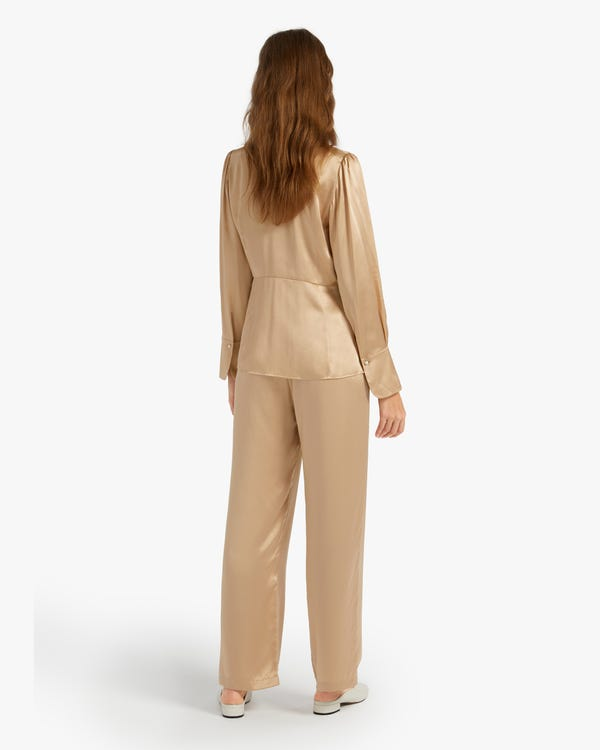 Stretch Silk Blouse With Wide Sleeve Cuff-hover