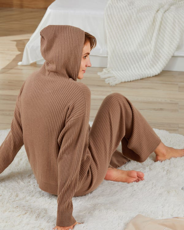 Ribbed Pure Cashmere Hoodie-hover