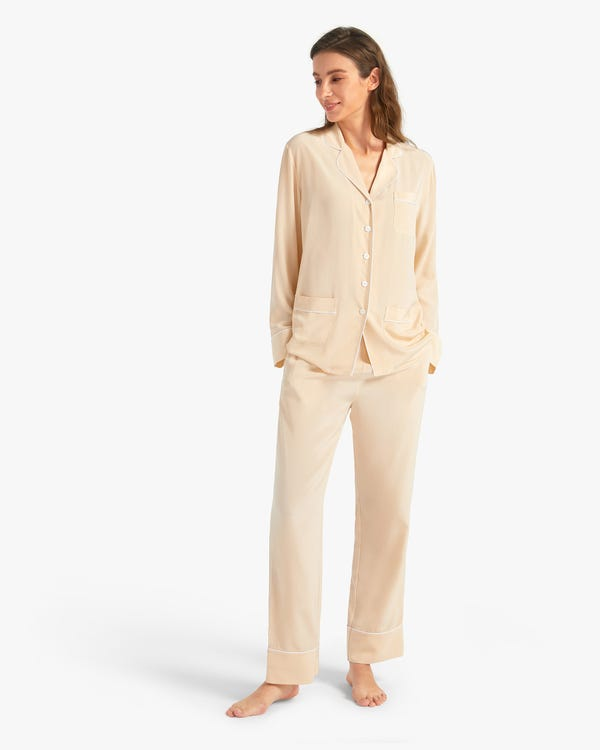 18 Momme Chic Trimmed Silk Pajamas Set-hover