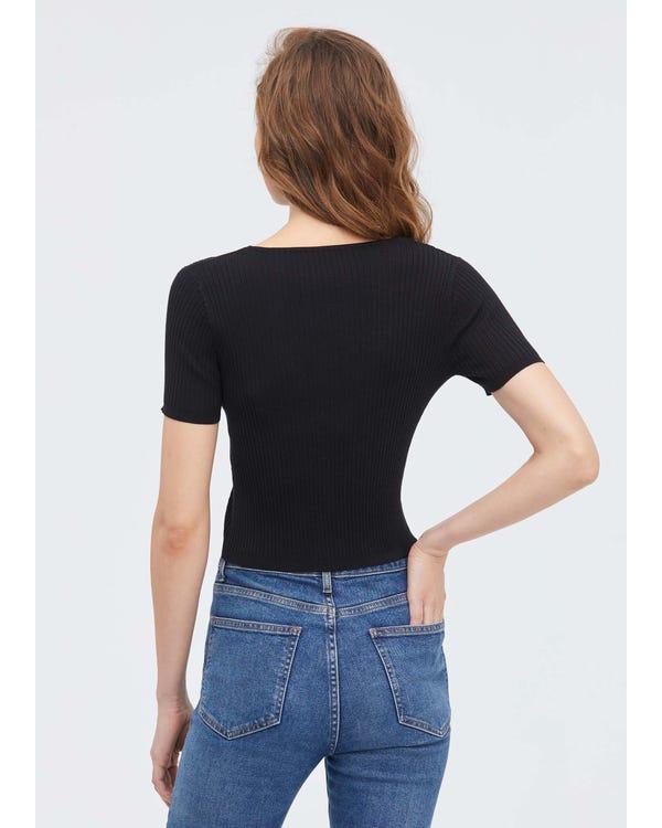 Geripptes Kurzarm T-Shirt aus Seidenstrick-hover