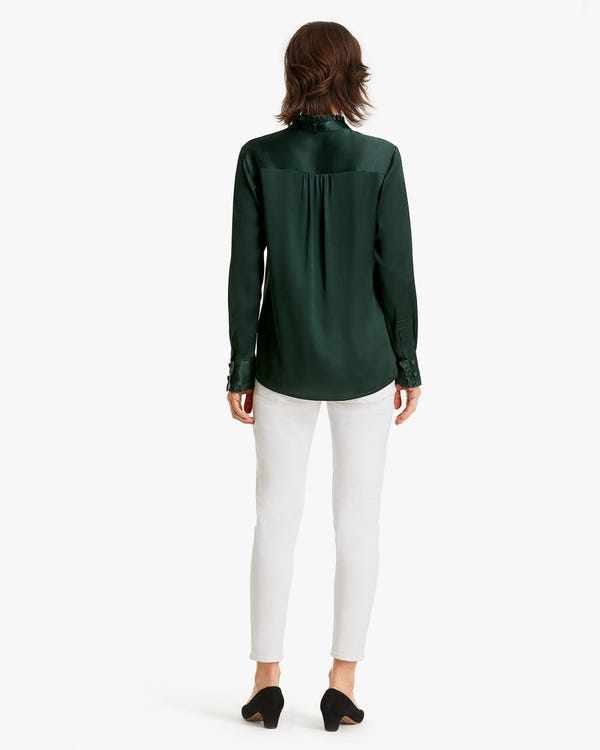 Silk Blouse With Ruffle And Bow-hover