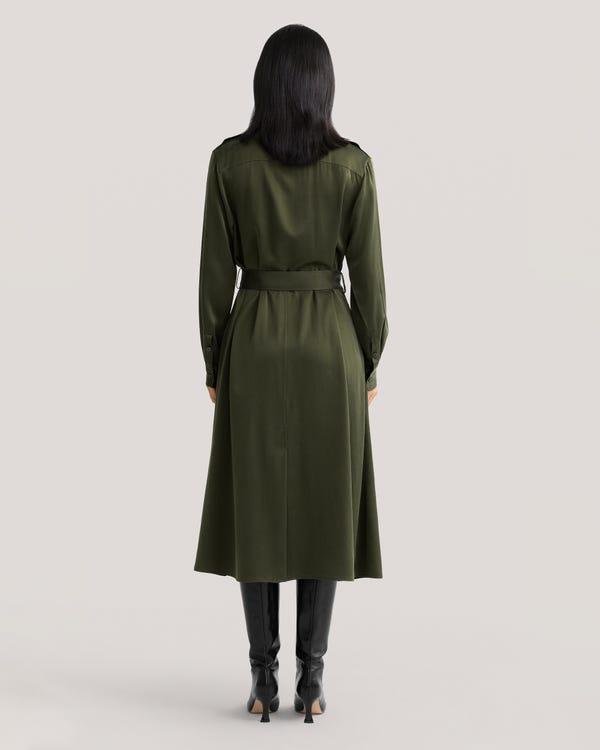 Belted Shirred Silk Shirt Dress-hover