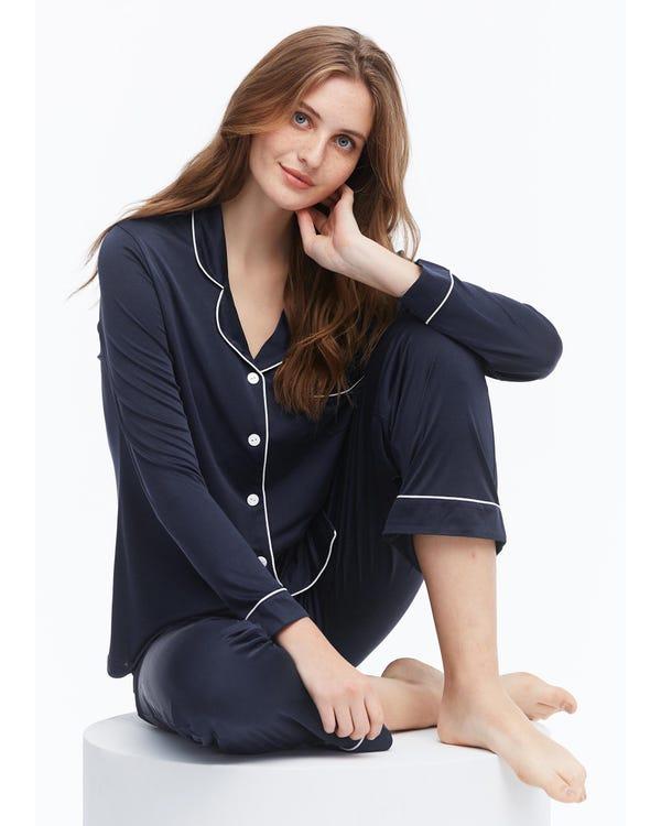 Elegant Lapel Collar Silk Pajamas Set for Women Navy Blue M-hover