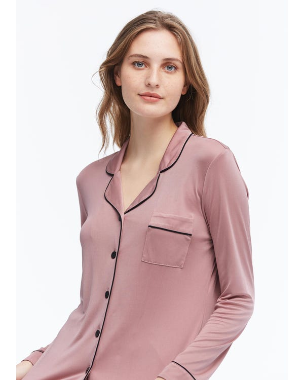 Elegant Lapel Collar Silk Pajamas Set for Women-hover