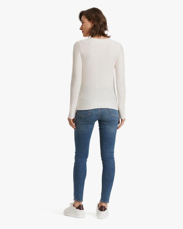 Plissee Seidenstrick T-Shirt Natural-White L-hover