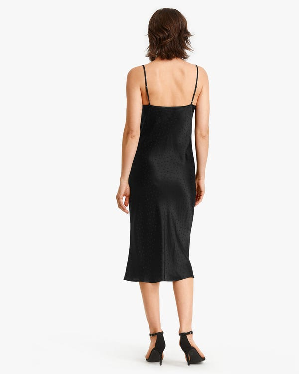 Polka Dot Jacquard Seide Cami-Kleid Black M-hover