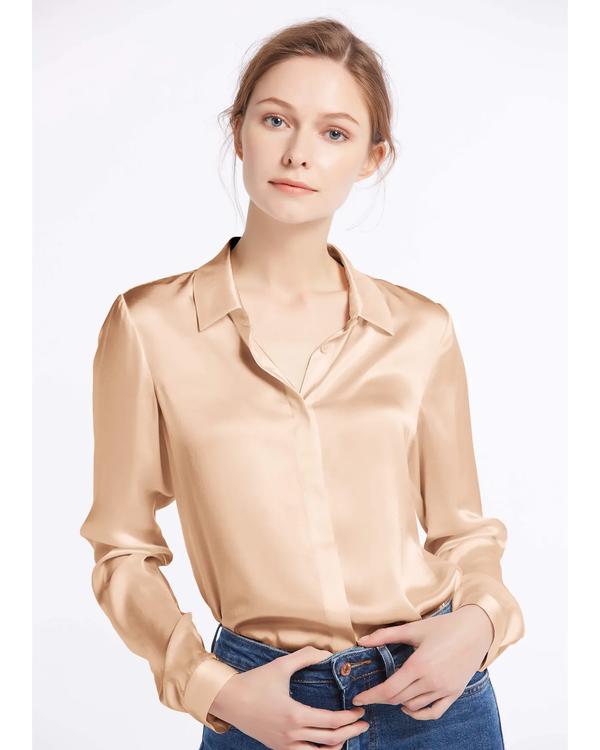 Stripes Jacquard Silk Pillowcase with Hidden Zipper Natural-White 51x66cm
