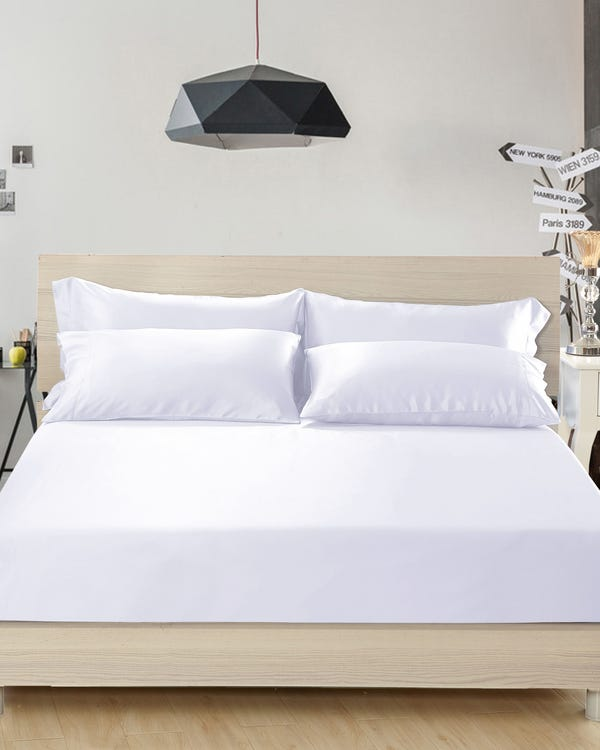 22 Momme Seamless Silk Fitted Sheet White King-hover