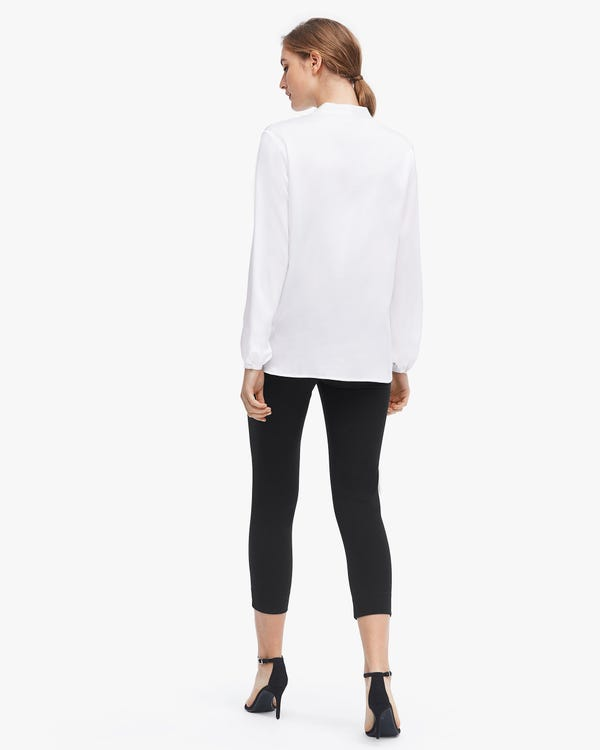 Relaxed Long Sleeve Surplice Silk Top-hover