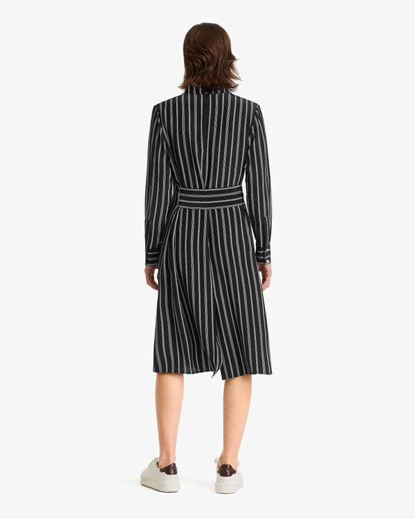 Striped Midi Silk Shirt Dress-hover